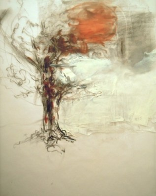 """Tree Floating. Charcoal and oil on vellum, 12"""" x 9.25"""", 2012 SOLD"""