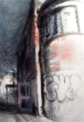 """Field House #2. 2009, chalk pastel on paper, 14"""" x 10"""" SOLD"""