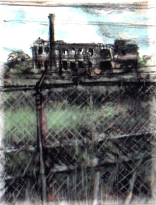 """Wabash revisited. Charcoal on vellum over acrylic on paper, 5"""" x 6.5"""", 2010  