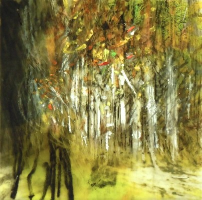 """Birch Grove. Oil and charcoal on mylar, 3.5"""" x 3.5"""", 2013  SOLD"""