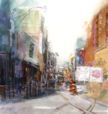 """Construction (McCaul St. looking north from Queen St. W.) Oil and charcoal on mylar over collage on paper, 5"""" x 5.25"""", 2014 SOLD"""