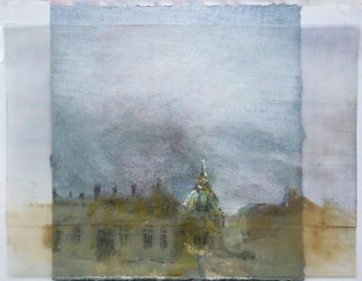 "Frederik's Church, Copenhagen. Oil on duralar over acrylic on paper, 7"" x 5.5"", 2014 SOLD"