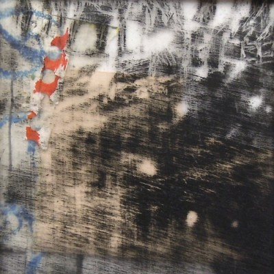 """High Park Snow Fences. Oil on duralar over collage on paper, 3.5"""" x 3.5"""", 2014 SOLD"""