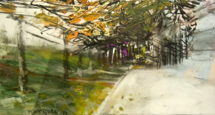 """Park Road. Oil and charcoal on mylar over acrylic on paper, 6.5"""" x 3.5"""", 2014  