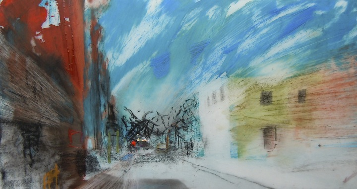 """Queen Streetscape. Oil and charcoal on mylar, 3.5"""" x 6.5"""", 2013  SOLD"""
