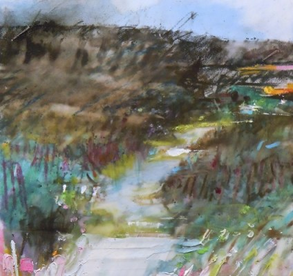 """River. Oil and charcoal on mylar, 3.5"""" x 3.5"""", 2013 SOLD"""