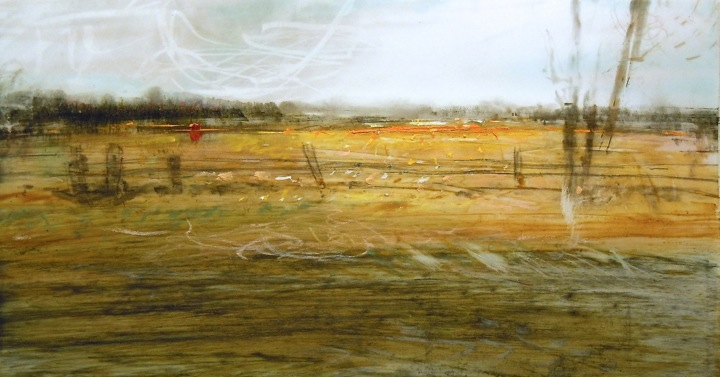 """Roadside. Oil and charcoal on mylar over acrylic on paper, 9.75"""" x 5.25"""", 2013  SOLD"""