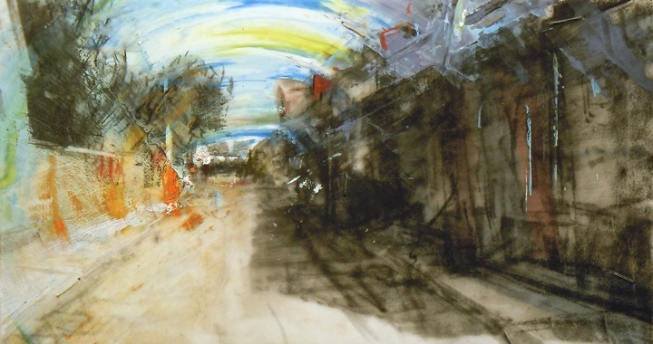 """Row Houses. Oil and charcoal on mylar over acrylic on paper, 6.5"""" x 3.5"""", 2014  SOLD"""