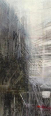 """Scaffold. Charcoal on vellum, 6.75"""" x 3"""", 2014 