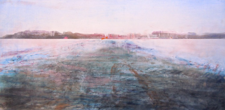 """To the Island. Oil stick on duralar over acrylic and collage on panel, 12"""" x 24"""", 2015 SOLD"""