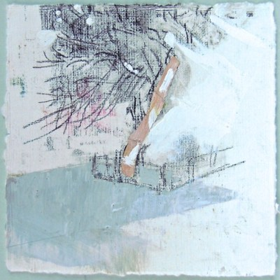 """Tree in Assistens Cemetary, Copenhagen. Charcoal, acrylic and collage on paper, 4.5"""" x 4.5"""", 2015 