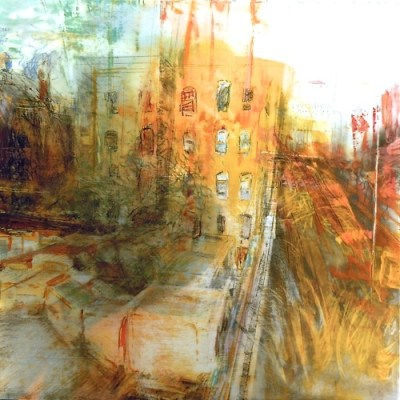 """Ductwork. Oil, charcoal and pastel on mylar over acrylic on paper, 18"""" x 18"""", 2013  SOLD"""
