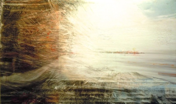 """Island. Oil, charcoal, pastel and pencil on mylar over acrylic on paper, 18"""" x 30"""", 2013 SOLD"""