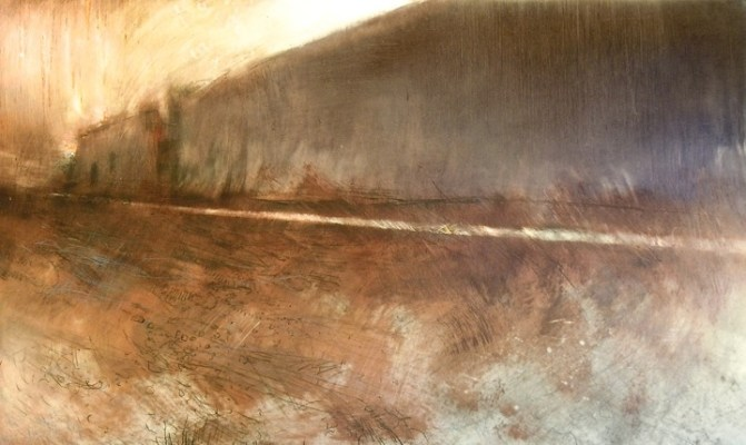 """Through Grasses. Oil, charcoal and pencil on mylar, 18.25"""" x 30"""", 2013  SOLD"""