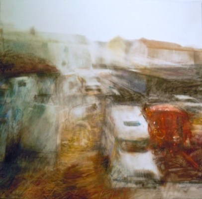 """Trucks and Houses. Charcoal and oil pastel on mylar, 10.5"""" x 10.25"""", 2012 SOLD"""