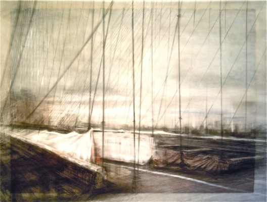 """Suspended Landscape. Charcoal on vellum over acrylic on paper, 20"""" x 26.5"""", 2012 SOLD"""