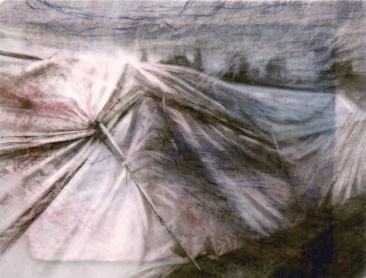 """Tarp with City. Charcoal on vellum over acrylic on paper, 5.25"""" x 6.75"""", 2012  SOLD"""
