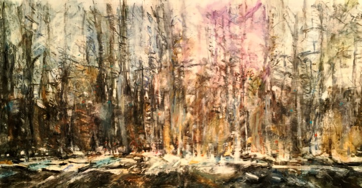 """Highway Forest. Oil and oil stick on duralar over acrylic and collage on panel, 12.75"""" x 24"""", 2016 (not for sale)"""