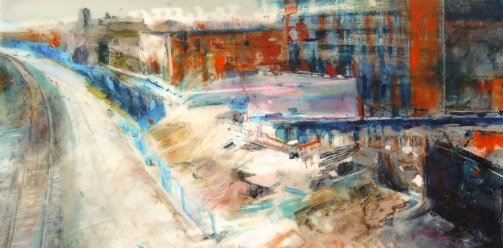 """Old Factories. Oil stick on mylar over acrylic and collage on panel, 12"""" x 6"""", 2015 