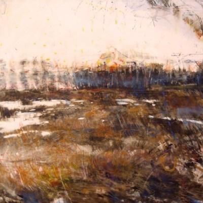 "Scrub Grasses. Oil stick on mylar over acrylic on panel, 12' x 12"", 2016 | SOLD"