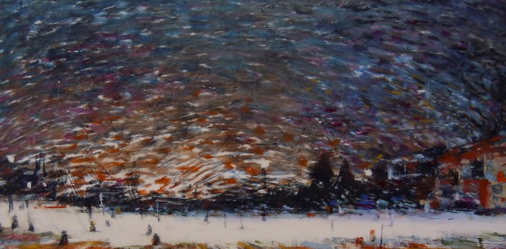 """Wabash at Night (winter). Oil stick on duralar over acrylic on panel, 12"""" x 6"""", 2016 