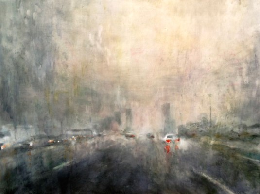 """Highway Deluge. Oil and oil stick on duralar over acrylic on panel, 30"""" x 40"""", 2016 