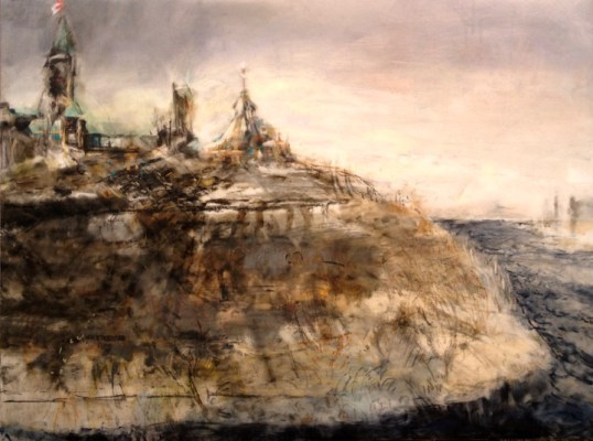 """Parliament Hill. Oil and oil stick on duralar over acrylic and collage on panel, 30"""" x 40"""", 2016 