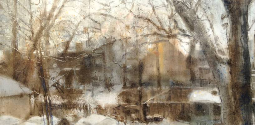 """Our Backyard, Winter. Oil and oil stick on duralar over acrylic and collage on panel, 12"""" x 24"""", 2017 