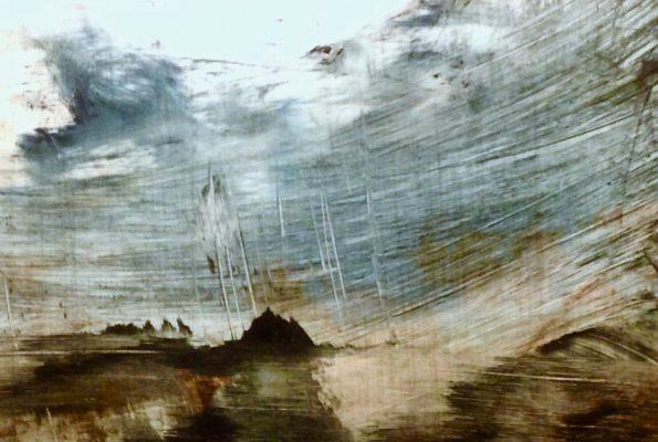 "Sea Island. Oil on duralar over acrylic on panel, 4"" x 6"", 2017 | SOLD"