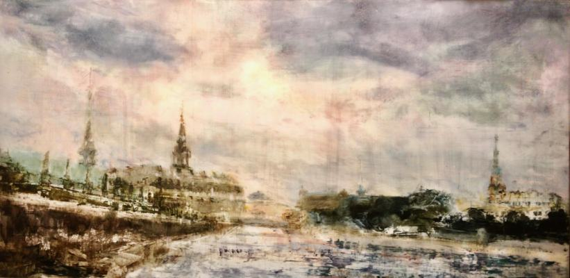 "Spires, Copenhagen. Oil on duralar over acrylic on panel, 30"" x 60"", 2017 | SOLD"