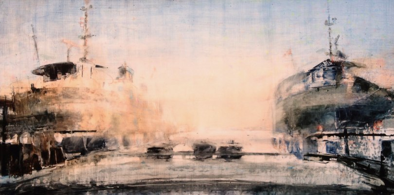 """Toronto Island Ferries in Winter. Oil and oil stick on duralar over acrylic on panel, 24"""" x 48"""", 2017 