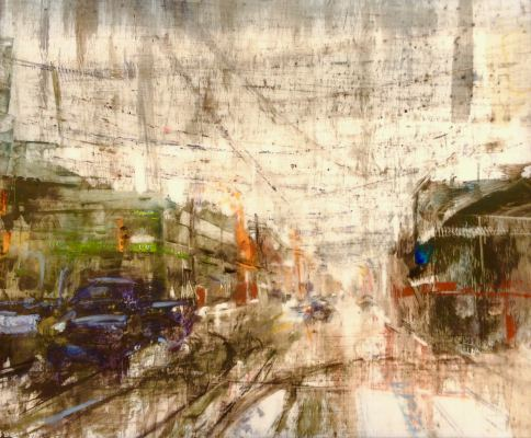"""Wet Snow Squall. Oil and oil stick on duralar over acrylic and collage on panel, 10"""" x 12"""", 2017 