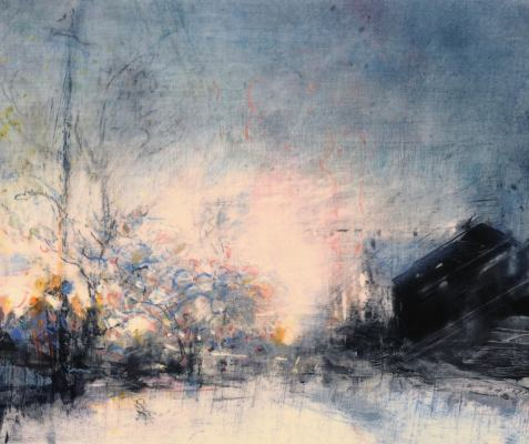 """Winter Dawn, Sorauren Avenue. Oil and oil stick on duralar over acrylic and collage on panel, 10"""" x 12"""", 2017  