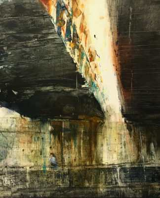 """Underpass X. Oil and oil stick on duralar over acrylic on panel, 10"""" x 12"""", 2018 