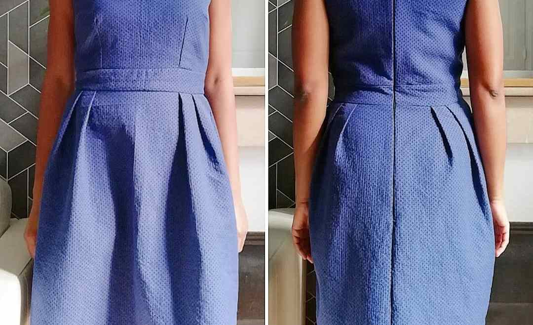 Robe bleue cousue main