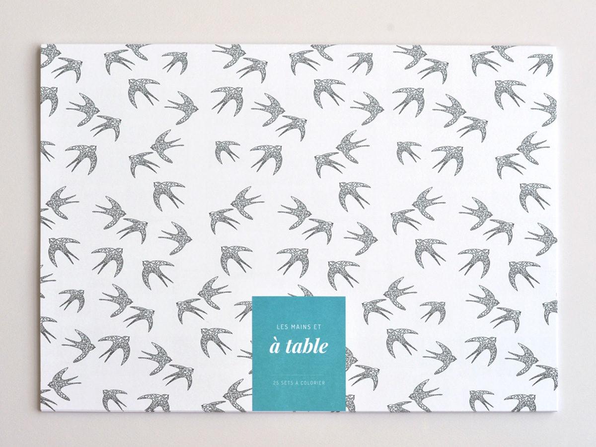 sets de table a colorier hirondelles