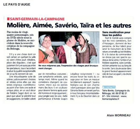 PRESSE spectacle moliere place des disputes compagnie du belouga