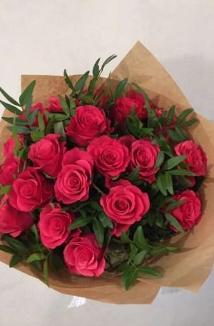Mono bouquet rose framboise