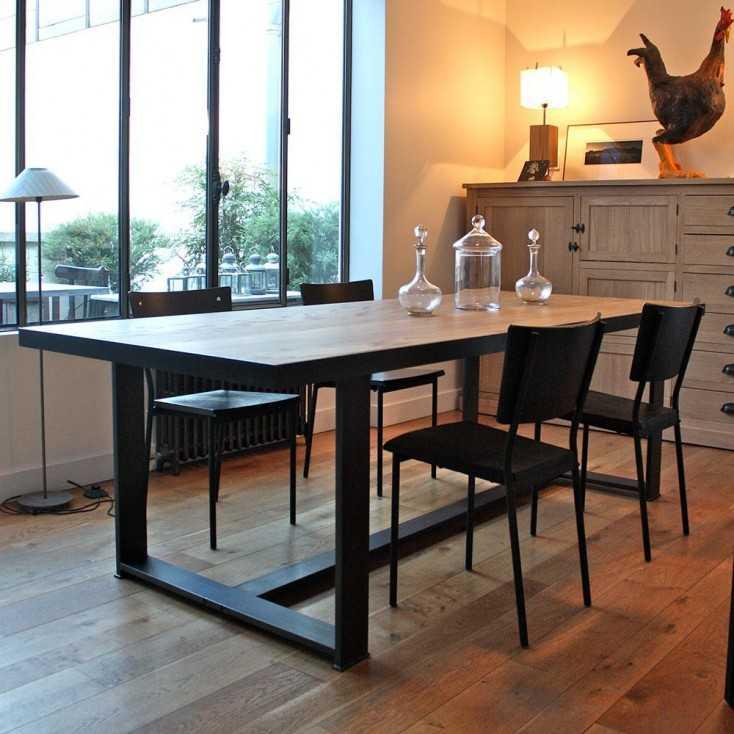 table industrielle bois metal