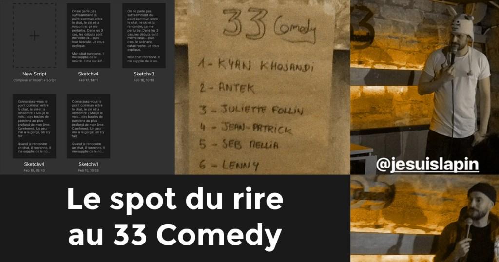 Instantanés de scène au 33 Comedy avec Jean-Patrick et Kyan Khojandi