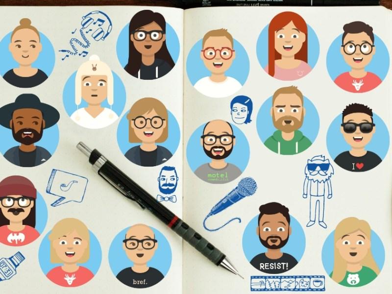 Reprise : illustration d'artistes humour dans un bloc-notes