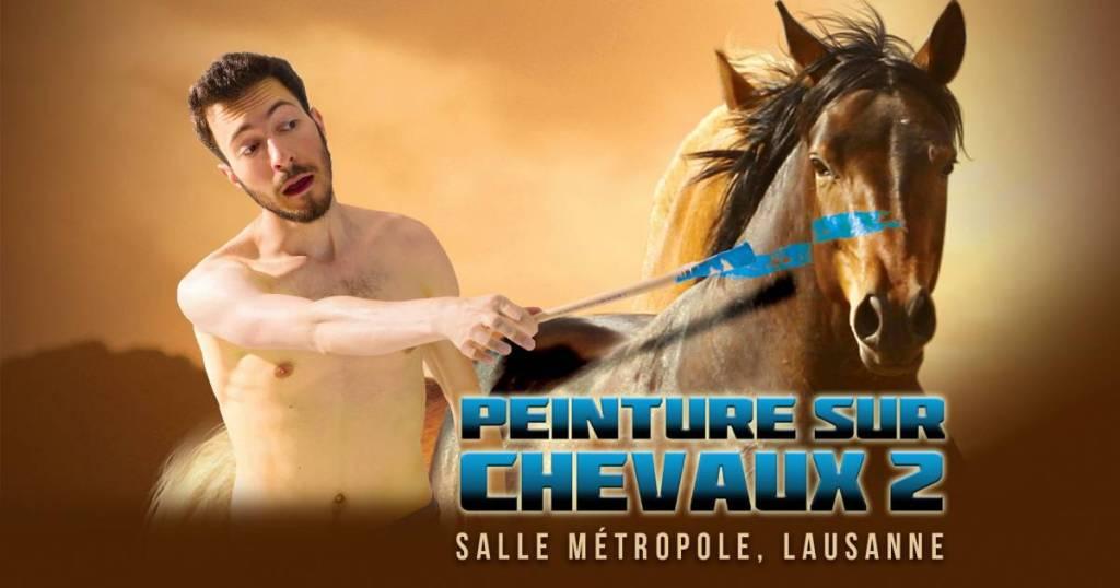 Peinture sur chevaux 2 : affiche du spectacle de Blaise Bersinger à la salle Métropole de Lausanne