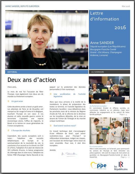 Lettre information Anne SANDER juin 2016
