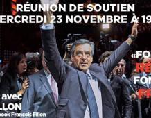 Réunion de soutien à François FILLON – Mercredi 23 novembre 2016 à 19H – LAMPERTHEIM