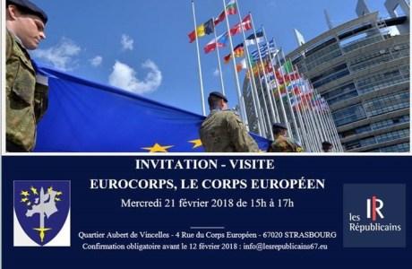 Invitation – Visite – EUROCORPS, LE CORPS EUROPÉEN – Mercredi 21 février 2018