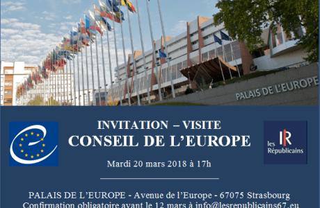 Invitation – Visite – Conseil de l'Europe – Mardi 20 mars 2018