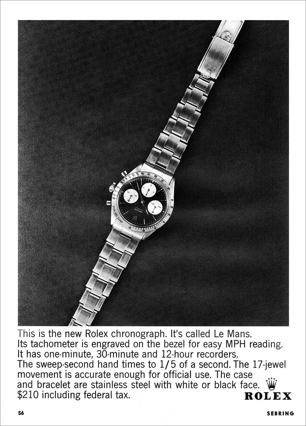 """Publicité Rolex Chronograph """"Le Mans"""" from 1964"""