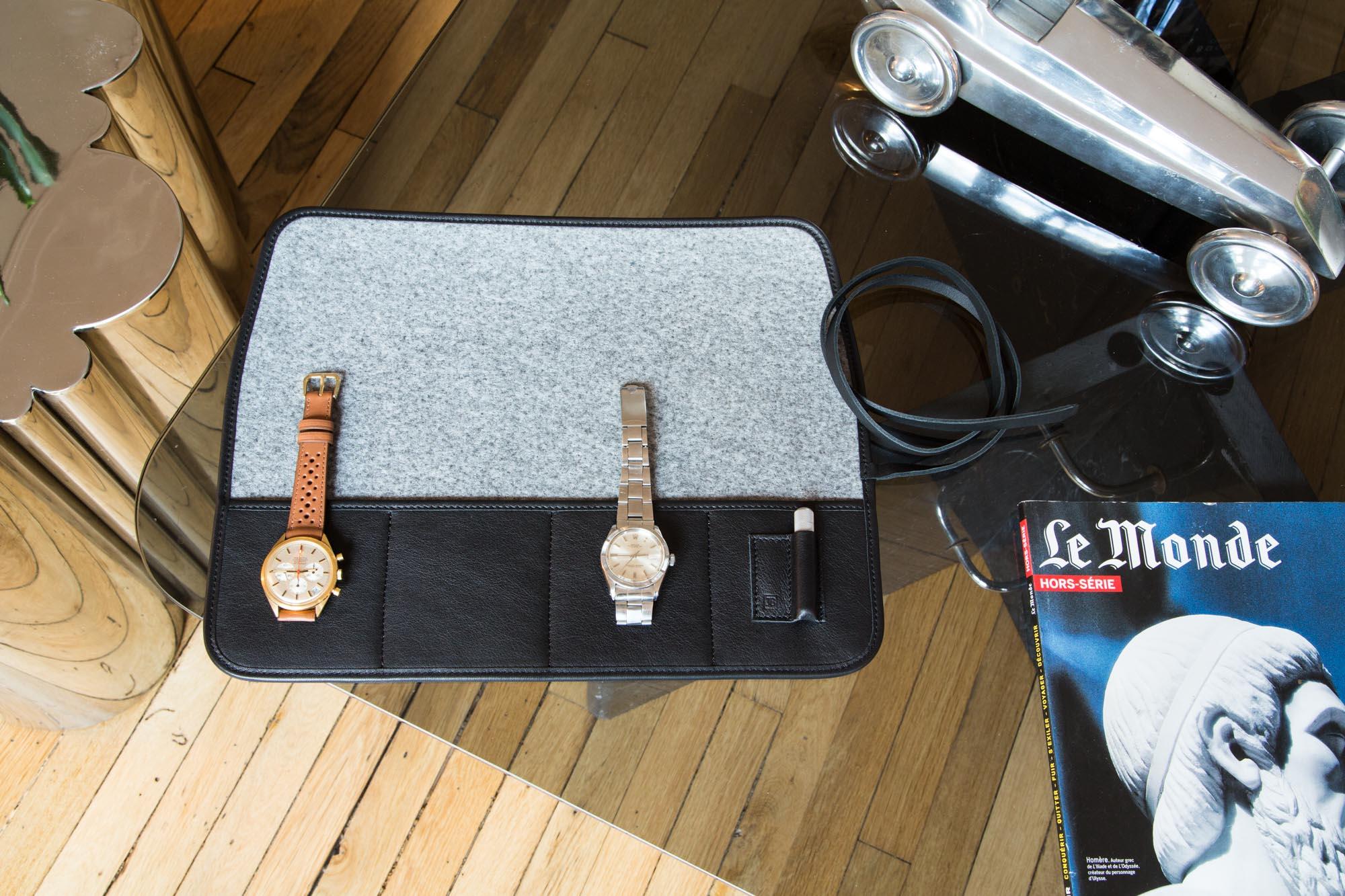 Marmotte - Pochette de transport pour montres en cuir noir
