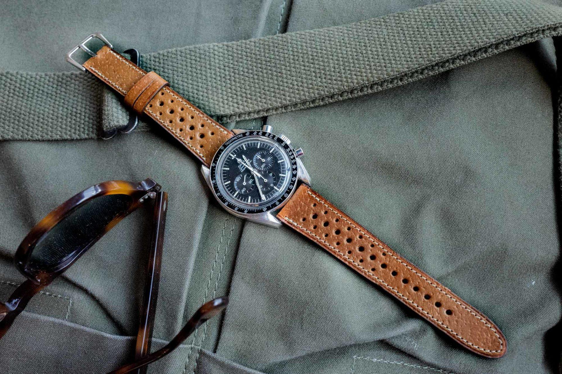Joseph Bonnie - Bracelet de Montre Rallye en cuir vintage des Tanneries Gal - Couleur Caramel