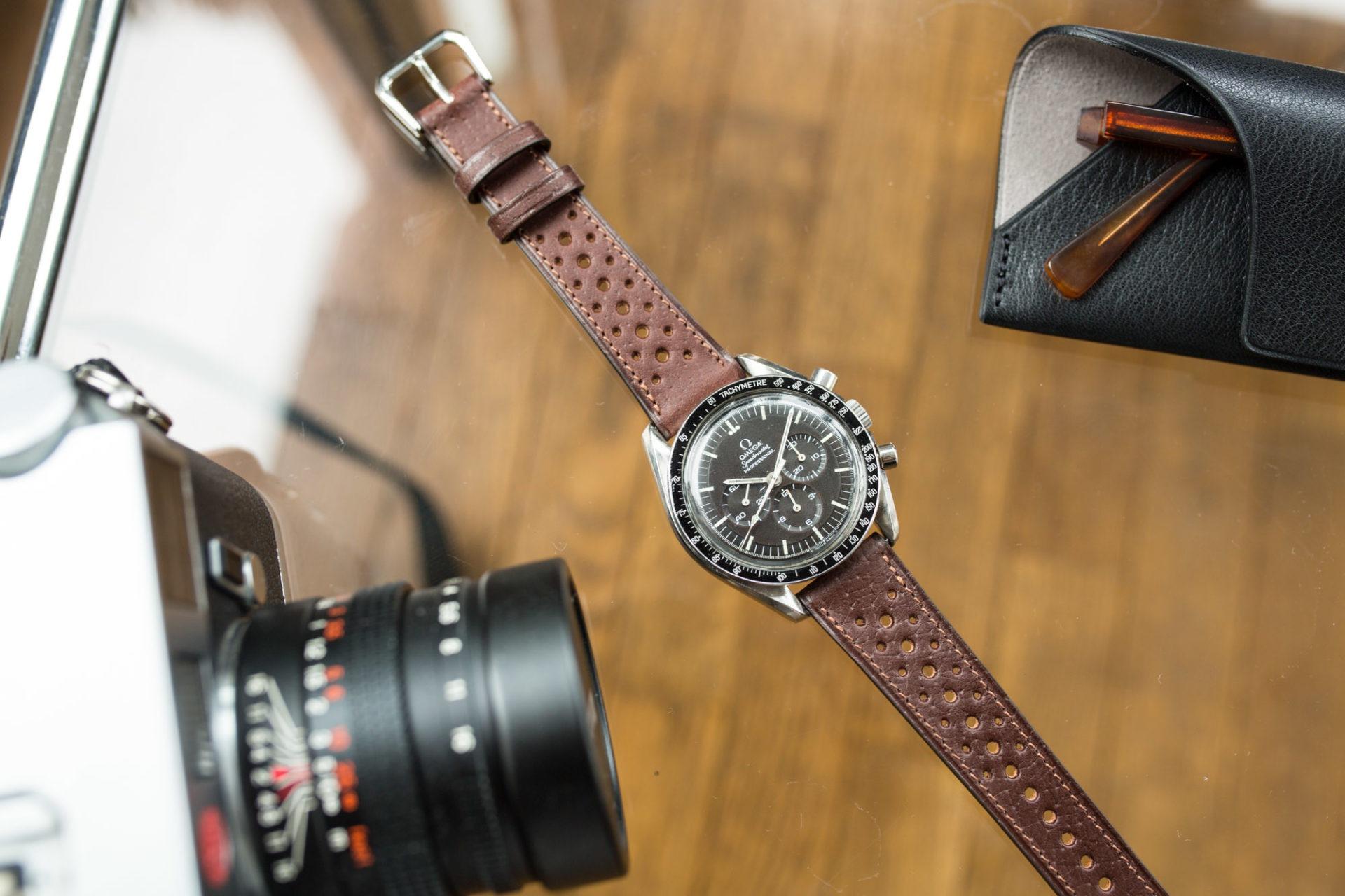Joseph Bonnie - Bracelet de Montre Rallye en cuir vintage des Tanneries Gal - Couleur Chocolat